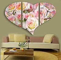 Бело розовые Фигурные Часы картина модульная Нежная роза любви 30x47 30x62 30x42 см