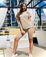 Женский трикотажный костюм футболка шорты-треки Poliit 7174