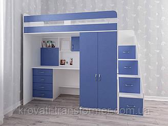 """Кровать чердак  """"Present"""". Белый + синий"""