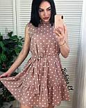 Летнее платье - трапеция в горошек с поясом и оборкой 7031141, фото 2