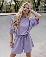Женский летний спортивный костюм со свободными шортами и футболкой оверсайз 7205919
