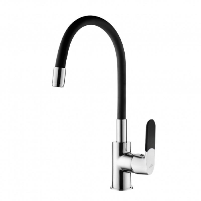 Змішувач для кухні з гнучким виливом, Invena Samba, чорний, BZ-91-L04