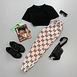 Женский брючный летний костюм с принтованными штанами и черным топом с рукавом 6610691Е, фото 2