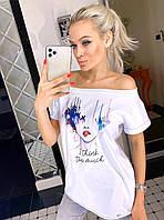 Женская белая футболка с принтом Poliit 3009-2