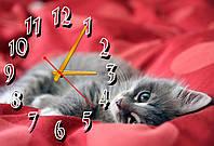 Часы настенные в детскую комнату Серый котенок, 30х45 см