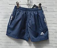 """Шорты пляжные плащевые детские для мальчика """"Adidas"""" 7-11 лет, темно-синего цвета, фото 1"""