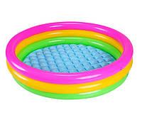 Детский надувной бассейн с надувным дном 147х33 см Intex 57422 круглый для детей