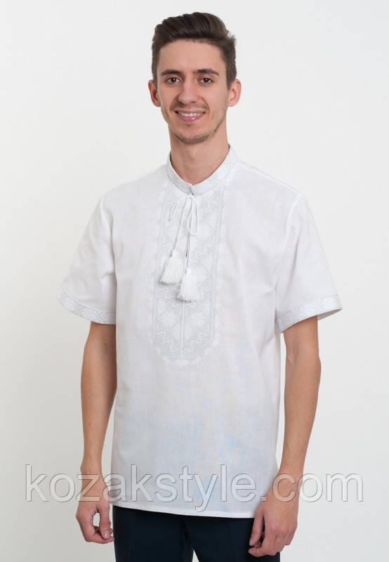 Вишиванка на короткий рукав з білою вишивкою