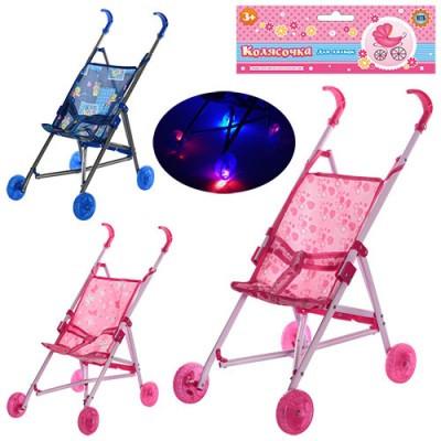 Игрушечная коляска-трость для кукол и пупсов Melogo светящиеся колеса Розовая