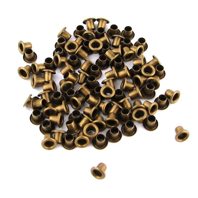 Люверсы Блочки для рукоделия 2,5мм бронза, 25шт в наборе