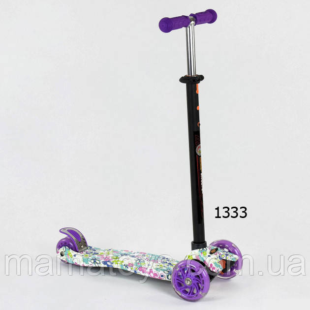 Самокат детский Best Scooter Макси Принт. Колеса PU, светятся А 25535 /779-1333