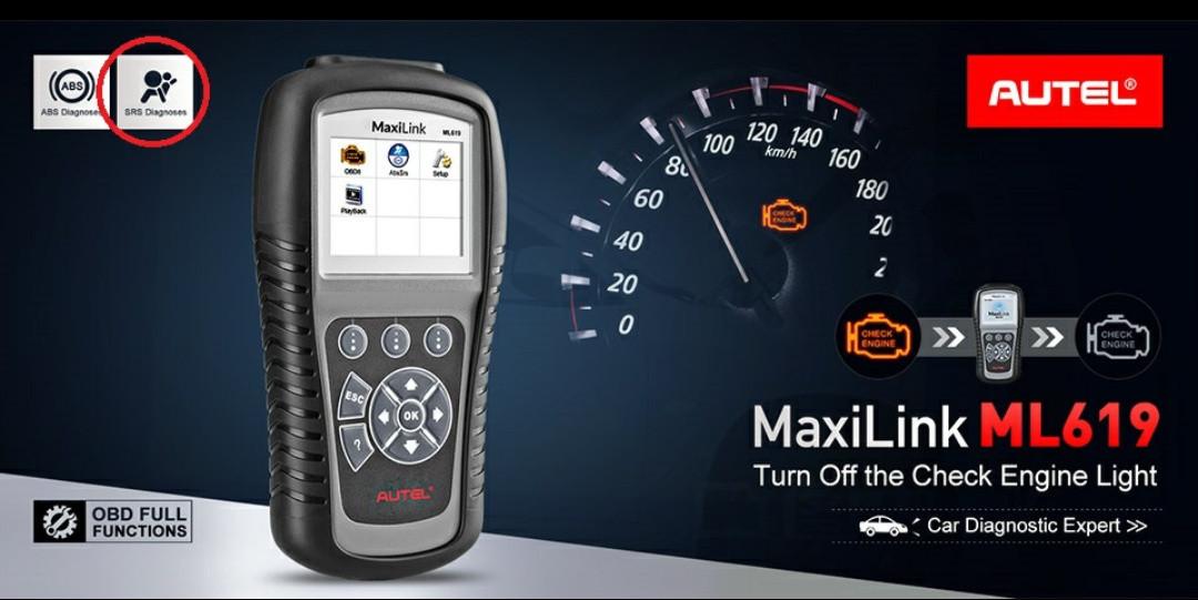 Автосканер профессиональный AUTEL MaxiLink ML619 (OBD2/EOBD+CAN)читает пробег. устраняет ошибки подушек