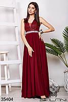 Платье вечернее цвета марсал с гипюром и стразами в пол (размер от 42 до 54)