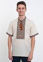 Чоловіча вишиванка  короткий рукав з барвистою вишивкою