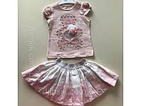 Летний костюм для девочки розовый футболка с юбкой
