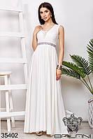 Платье вечернее молочного цвета с гипюром и стразами в пол (размер от 42 до 54)