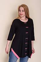 Женская кофта с малиновыми вставками черного цвета. От производителя Турция. ОПТ - РОЗНИЦА