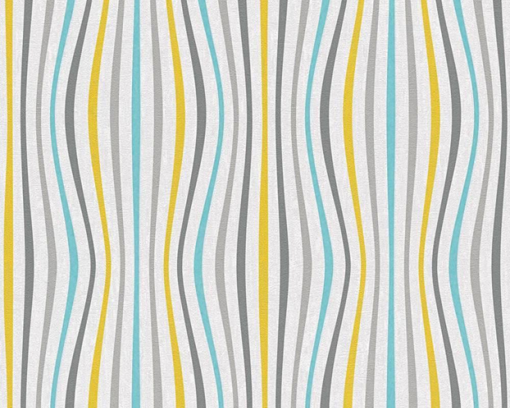 Яркие обои 355972 абстракция с тонкими волнистыми полосками ярко желтого бирюзового серого цвета, для мальчика