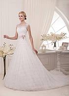 Изумительное свадебное платье с аппликацией, кружевом и божественним  цветком