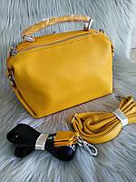 Женская сумка с короткими ручками желтая