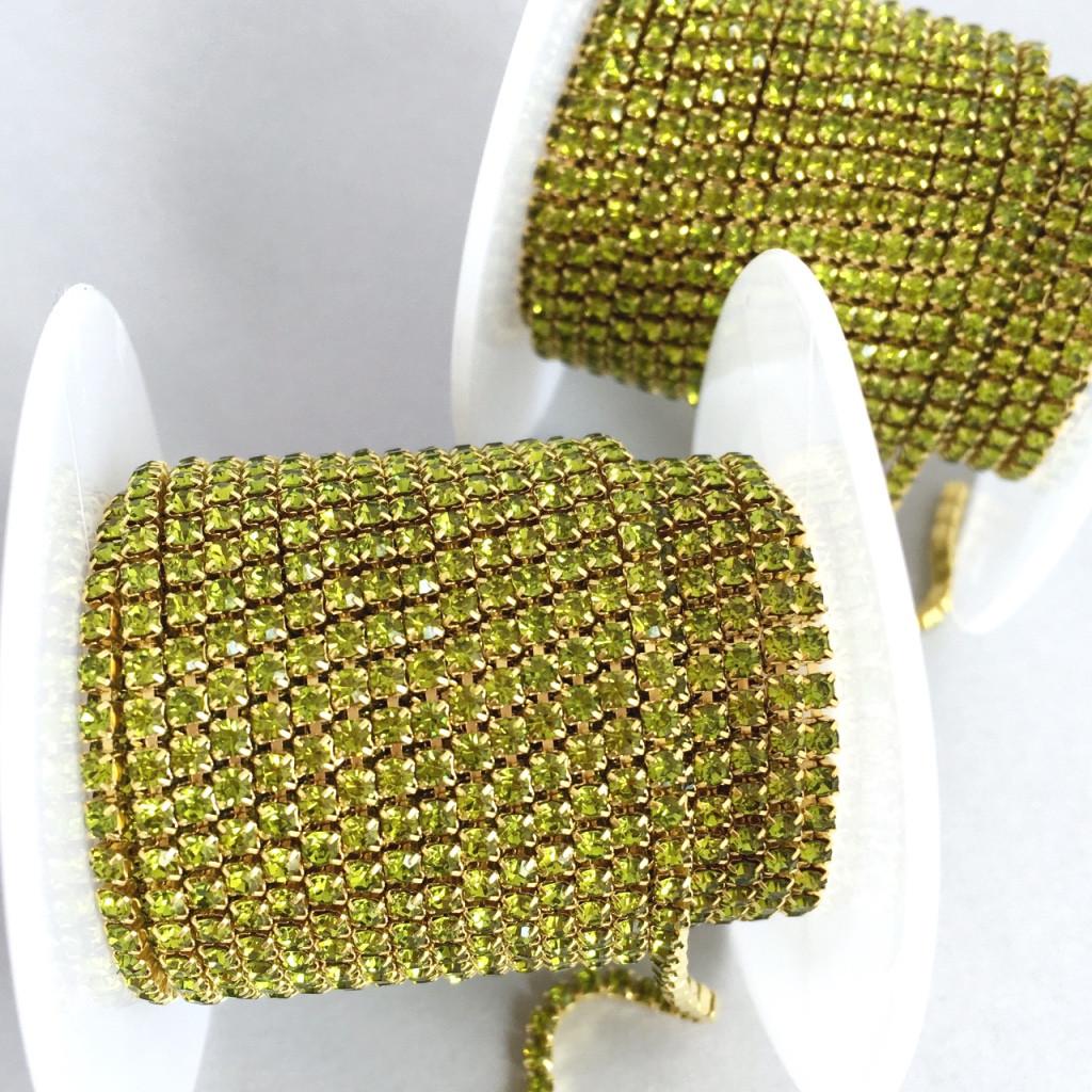 Стразовая цепь ss6 (2 мм). Оливковый (золото)