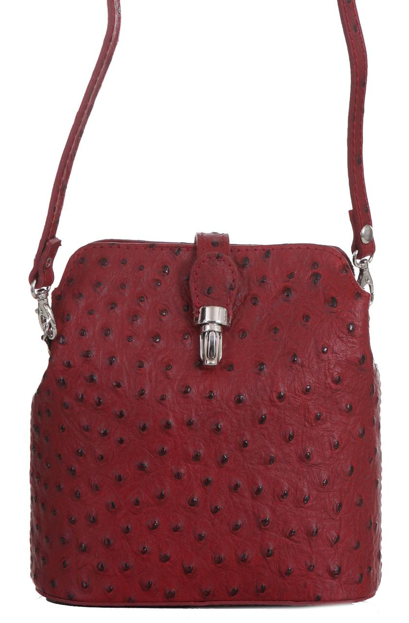 Кожаная сумочка INES мессенджер Diva's Bag бордовая 19 см х 19 см х 8 см