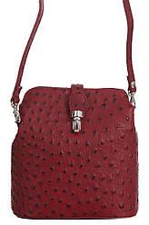 Стильна жіноча шкіряна сумка INES diva's Bag колір бордовий
