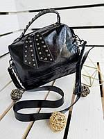 Кожаная женская сумка через плечо кроссбоди модная сумочка чемоданчик черная натуральная кожа