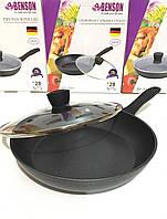Сковорода с крышкой мрамор покрытие 24см BENSON  BN-342 (8 шт/ящ)