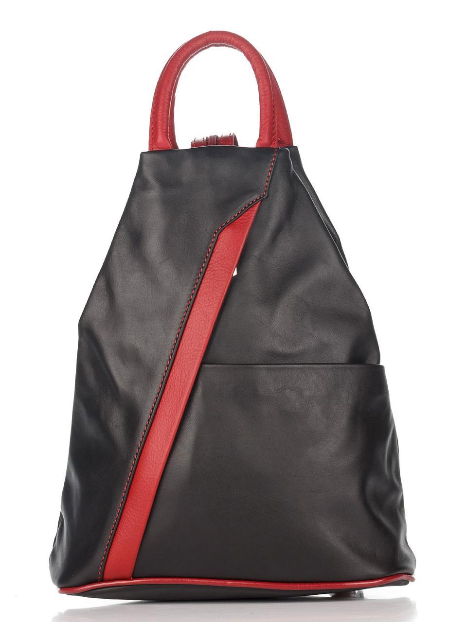 Итальянский женский  кожаный рюкзак STEFANIA Diva's Bag цвет черный/бордовый