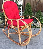Кресло качалка плетеная на подарок | кресло-качалка с подушкой  | кресло качалка из лозы с красной накидкой