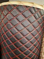 Мебельный кожзаменитель кожзам стеганный для обшивки мягкой мебели ширина 160 см ромб прошитый нитка красная, фото 1