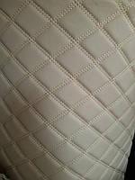 Меблевий шкірозамінник кожзам стеганний для обшивки м'яких меблів ширина 160 см ромб прошитий колір сірий, фото 1