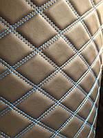 Кожзаменитель мебельный кожзам стеганный для обшивки мягкой мебели ширина 160 см ромб прошитый синяя нитка, фото 1