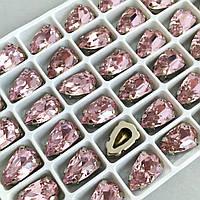 Капли 9х14 мм. Розовый. Стразы в цапах (серебро).