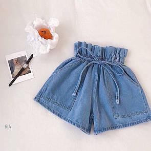Женские джинсовые шорты на резинке с карманами 77si394