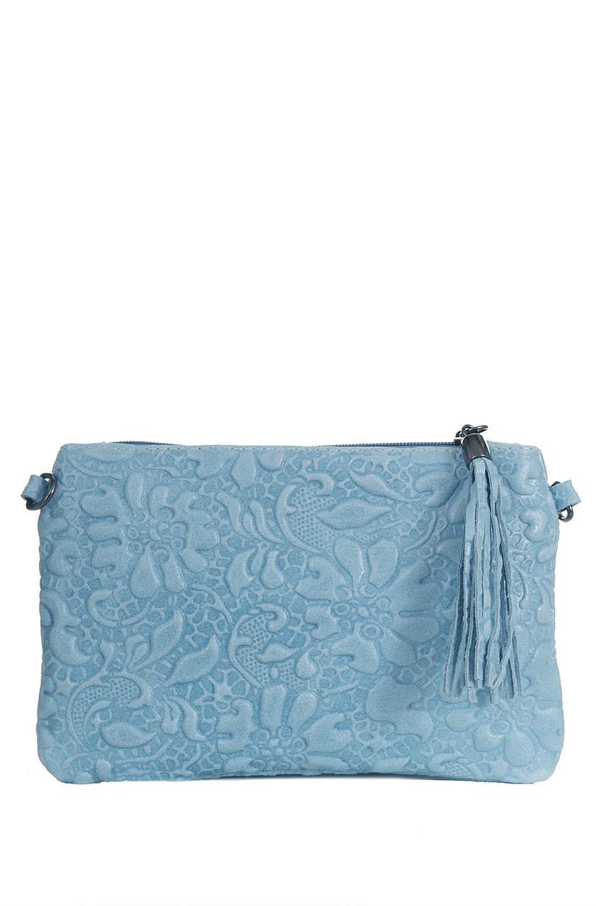 Женская кожаная сумка KISHA Diva's Bag цвет голубой