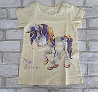 """Підліткова нічна сорочка для дівчинки """"Єдиноріг"""" 8-9 років, жовтого кольору"""