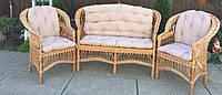 Мебель плетеная (стол в комплекте)  мебель из лозы с накидками   мебель  натуральная с диваном, фото 1