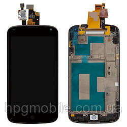 Дисплей для LG Nexus 4 E960, модуль в сборе (экран и сенсор), с рамкой, черный, оригинал