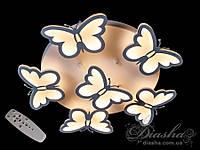 Детская потолочная люстра с бабочками 8067/5+1 WH dimmer