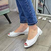 Балетки кожаные женские с открытым носком. 37 размер