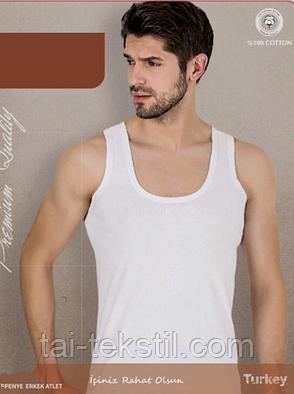 Майка мужская белая высокого качества (рибана) № 10-2XL 52-54 р, фото 2