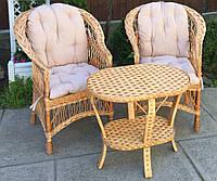 Мебель плетеная с журнальным столом | мебель из лозы с накидками | мебель  из лозы плетеная, фото 1