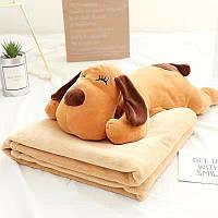 Детский плед игрушка собака, 110х150, коричневый