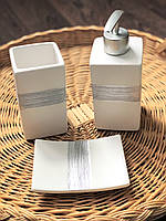 Набор для ванной (3 предмета) Оксфорд, цвет - белый с серебрянным, фото 1