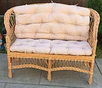 Диван плетеный с накидкой кофейной | диван из лозы для 3 человек | диван плетеный из лозы с подушкой