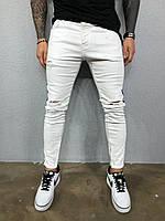 Джинсы молодежные мужские зауженные с лампасом и дырками на коленях Турция белые