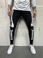 Мужские оригинальные молодежные джинсы на весну черные скелет с дырками на коленях 30-31 РАЗМЕР
