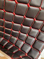 Кожзаменитель мебельный кожзам стеганный для обшивки мягкой мебели ширина 160 см ромб прошитый ярко-красный, фото 1